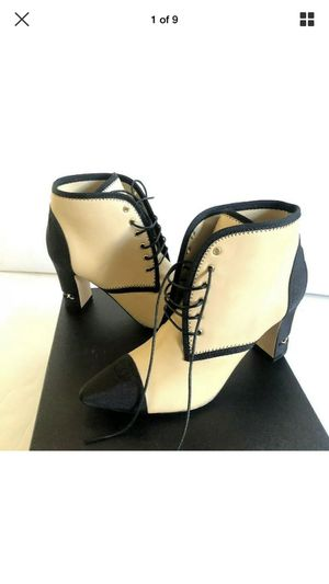 Chanel Beige Black Leather Booties WITH EMBOSSED CC Size 39 $1295 for Sale in West Hollywood, CA