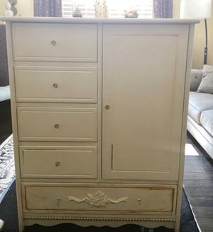 Dresser! White dresser, good for child or adult. Started painting and ran out of time! Great for distressing in antique finish or painting!! New glas for Sale in Chula Vista, CA