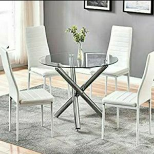 Brand new 5-piece modern dining table, dining room table, dining set, juego de comedor with glass tabletop and 4 chairs (Same Day Delivery Available). for Sale in Fort Lauderdale, FL