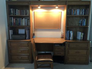 Desk, bookshelf, chair, and cork board combo for Sale in Frisco, TX