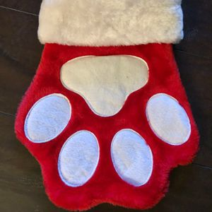 Soft PAW Print Christmas Stocking Plush Red XL Holiday Christmas for dog or cat for Sale in Corona, CA