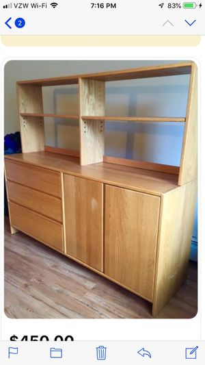 Solid Oak Wood dresser with three draws and two door cabinet with shelf. This will last for generations. No particle board or laminated wood. Top she for Sale in Marlborough, MA