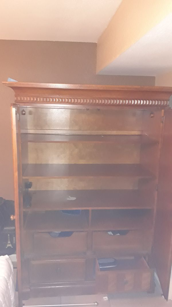 Armoire solid oak with 3 big shelves 2 smaller shelves and 2 drawers