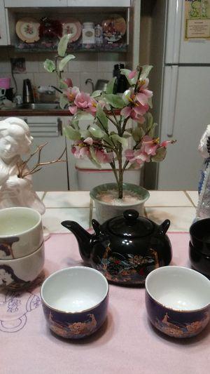 Oriental tea set with sculptures for Sale in Hialeah, FL