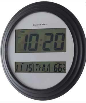 Digital Wall Clock or Table Top With Time Date Day Alarm & Indoor Temperature Art Black White Home or Office for Sale in Rockwood, MI