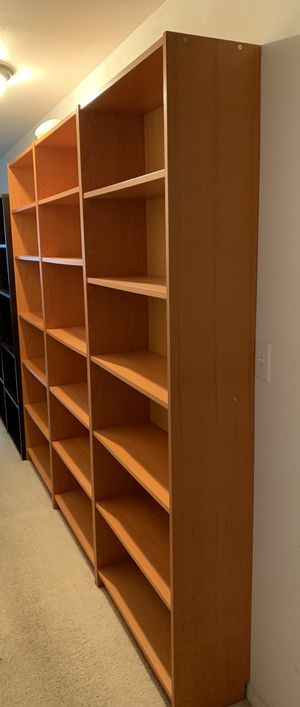 """honey colored tall bookshelves 6'7"""" tall x 3"""" wide for Sale in Tacoma, WA"""