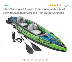 ntex Challenger K2 Kayak, 2-Person Inflatable Kayak Set with Aluminum Oars and High Output Air Pump for Sale in Brooklyn, NY