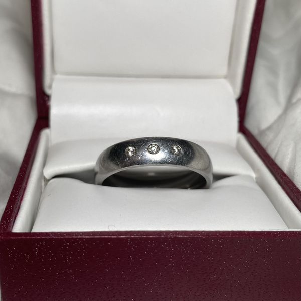 Men's Helzberg Stainless Steel Ring with Diamonds (Size: 11.5)