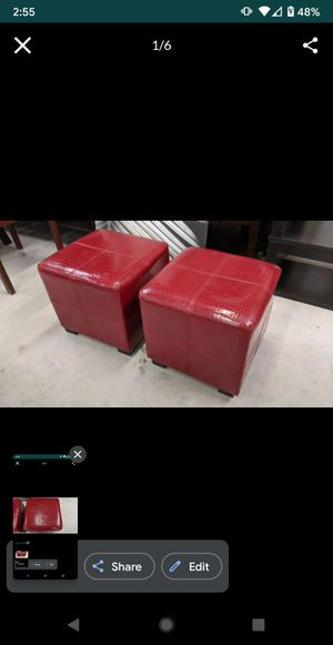Pair of Red Faux Leather Snakeskin Ottomans - Ultra Modern Contemporary footrest seats chair square cube shaped for Sale in Carlsbad, CA