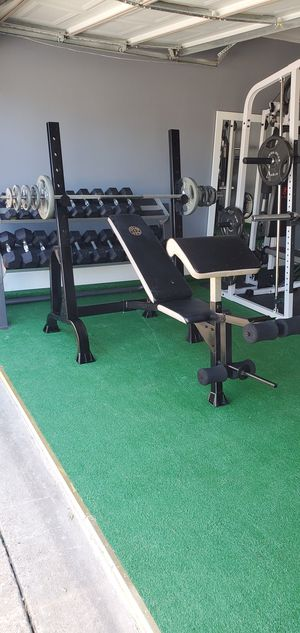 Gold's gym bench press squad rack biceps 💪 an leg extensions comes with weights for Sale in DeSoto, TX