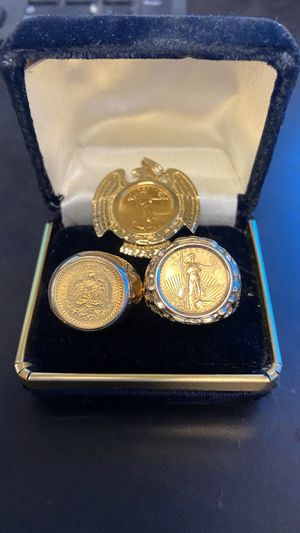 14k gold rings with 22k gold coins and 14k pendant with 22k coin for Sale in Mesquite, TX