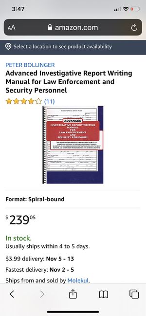 Advanced Investigative Report Writing Manual for Law Enforcement and Security Personnel for Sale in Richmond, CA
