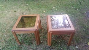 Small wooden glass top end tables for Sale in Detroit, MI