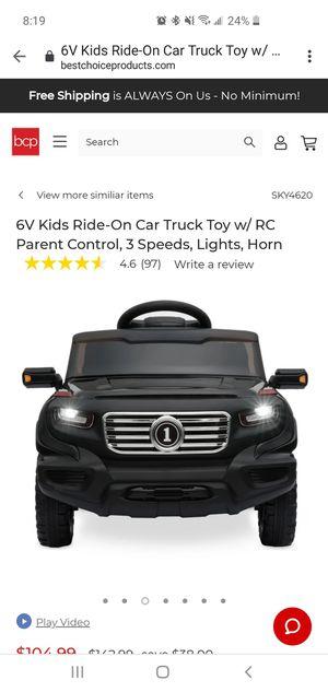Kids 6V Ride On Car/Truck, Parent control, 3 speeds, Lights, Horn for Sale in La Verne, CA