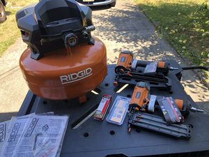 Ridgid compressor with 2 nail guns & accessories for Sale in Port Orchard, WA