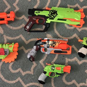 LOT 🔫 NERF 🔫 Gun 🧟 ZOMBIE STRIKE 6 guns - SIX 6 guns Quadrot, Clear Shot Blaster, Crosscut, Crossfire, Doublestrike, & HammerShot for Sale in Leander, TX