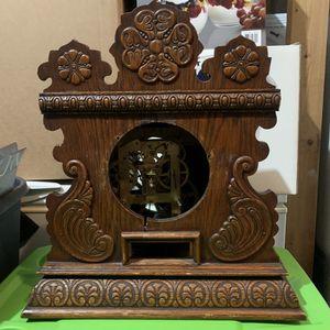 Antique E.Ingraham Clock Co.Oak Mantle kitchen Cabinet 16 Bristol Conn USA for Sale in Portland, OR