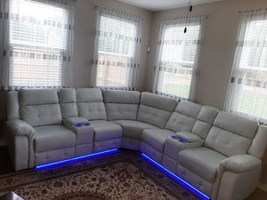 led lights white leather couches for Sale in Nashville, TN