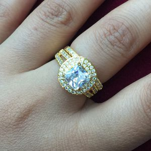 18k gold plated wedding engagement ring band set size 6,7,8,9 available jewelry accessory for Sale in Silver Spring, MD