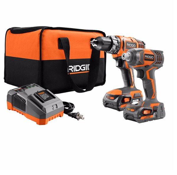 Impact Driver and Power Drill - Ridgid 18V with Batteries And Charger