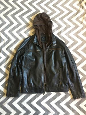 Guess Men's small leather jacket with detachable hoodie - Charcoal for Sale in San Diego, CA