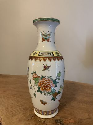 Pomegranate, Butterfly & Flower Chinese Ceramic Vase for Sale in Highland Beach, FL