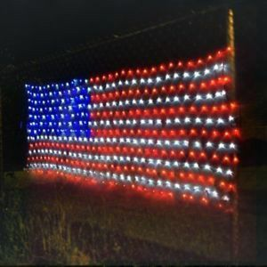 New in box 75 x 40 inches 260 led American USA flag net light 24 watts indoor or outdoor use for Sale in Pico Rivera, CA