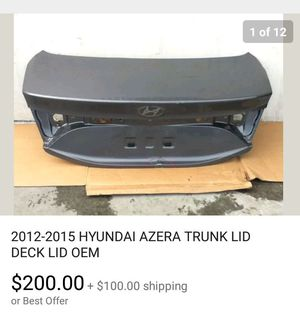 2012 - 2015 Hyundai Azera trunk lid used OEM for Sale in Compton, CA