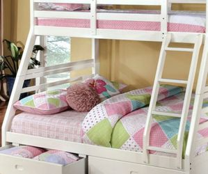 BUNK BED Twin Over Full White Free Drawers Free Mattress for Sale in Decatur,  GA