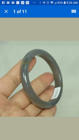 Certified natural agate chalcedony jade grey bangle 60mm for Sale in Richmond, CA