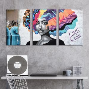 3 Panel Canvas Wall Art Street Graffiti Love is Color Giclee Print Gallery Wrap Modern Home Art for Sale in Marquette, MI