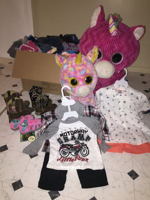 Kids clothes, shoes and 2 stuffed animals for Sale in Tampa, FL