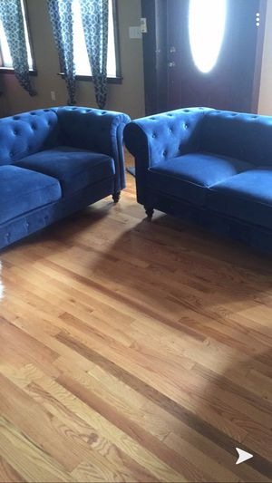 Two dark blue velvet and two white fur chairs for Sale in Mifflinburg, PA