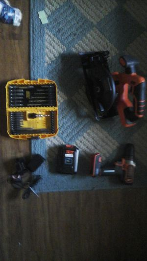 Brand new black and Decker drill with saw and it comes with a Dewalt quick bit set for Sale in Niceville, FL