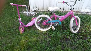 "16""girls bike childs 3 wheel push scooter for Sale in Granite City, IL"