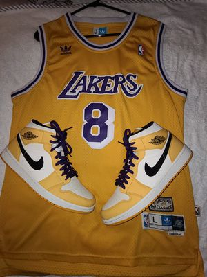 Jordan 1 lakers size 10 1/2 and size L jersey for Sale in Aspen Hill, MD