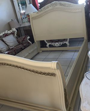 Queen bed frame dresser with mirror two night stand mattress with box springs for Sale in Miami, FL