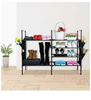 Shoe Rack, Space Saving Shoe Organizer for Closet, Sturdy 4+2 Tier Shoe Tower with Hanging Bags, Easy and Fast Installation Shoe Storage for Entryway for Sale in Corona, CA
