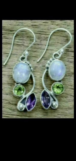 handmade peridot, amethyst, moonstone silver earrings NEW for Sale in Round Rock, TX