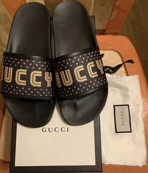 NEW IN BOX GUCCI Women's Pursuit Supreme GUCCY Star Slides Black Gold Sz 38 / 8 for Sale in Anaheim, CA