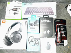 Skulk Candy Earbuds- Anker Earbuds- JBL Headphones-Keyboard- Chromecast-Flashlight/Battery- Car audio transmitter for Sale in Upland, CA