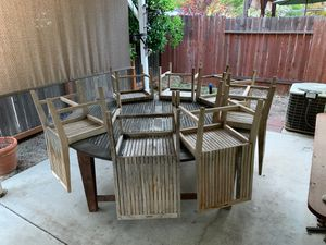 Teak wood outdoor table and chairs for Sale in Chico, CA