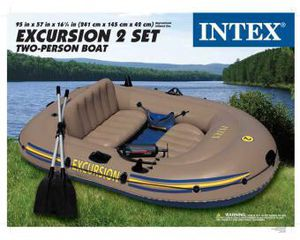Intex Excursion 2 Inflatable Raft Set - Two Person Blow Up Fishing Boat for Sale in West Palm Beach, FL