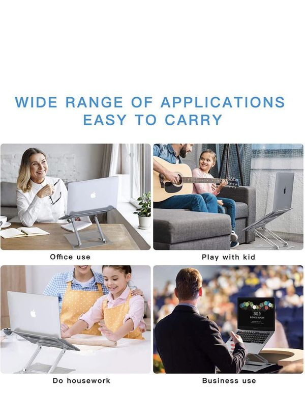 Adjustable Laptop Stand Riser with Slide-Proof Silicone and Protective Hooks,Ergonomic Adjustable Notebook Stand, Compatible for MacBook Air Pro, De