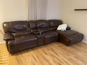 Leather reclining couch for Sale in Odenton, MD