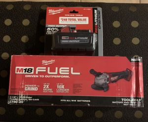Milwaukee M18 FUEL 18-Volt Lithium-Ion Brushless Cordless 4-1/2 in. / 5 in. Grinder with Paddle Switch with 1 XC 6.0 battery NO CHARGER for Sale in Miami, FL