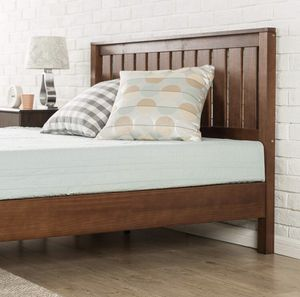 New in box queen size wood platform bed frame with headboard $175 or $350 with memory foam mattress for Sale in Columbus, OH