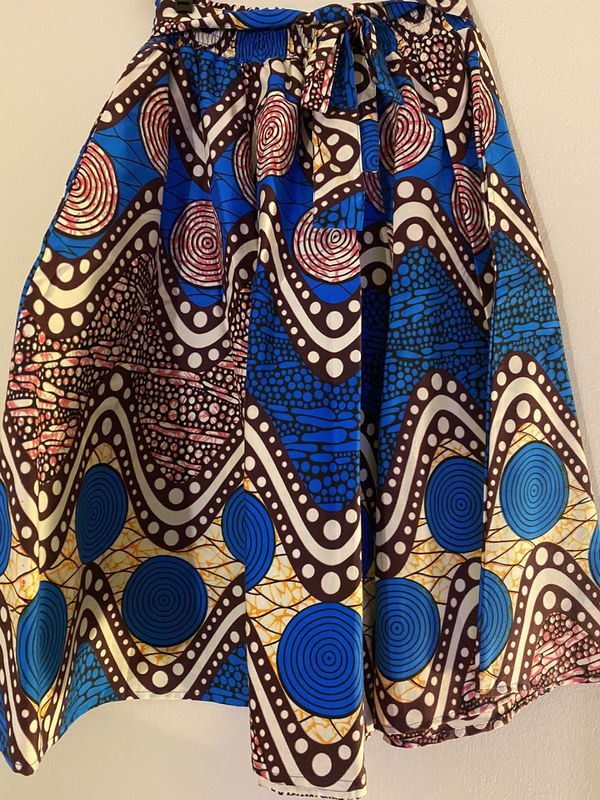 African inspired A line skirt with belt