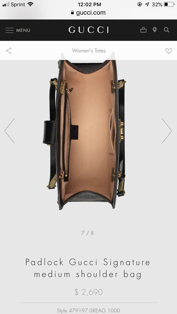 45b5f5c7bac NEW  PADLOCK GUCCI SIGNATURE MEDIUM SHOULDER BAG TOTE style 479197 ...