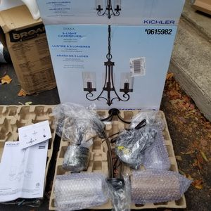 Kichler 3-Light Olde Bronze French Country/Cottage Clear Glass Candle Chandelier ( New) for Sale in Cary, NC